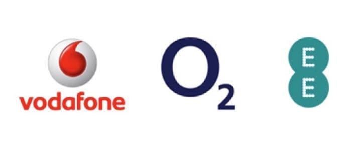 vodafone, O2 and EE logos